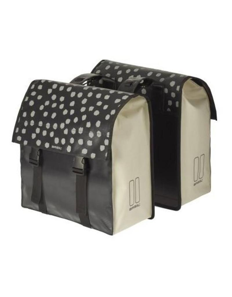 Basil Urban Load dubbele tas zwart reflectie / wit 48-53L