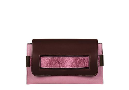 Clutch bag Fleur (brown/pink