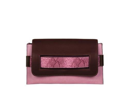 Clutch bag Fleur (brown/pink