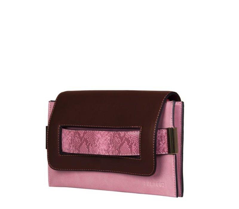 Clutch Fleur (bruin/roze)