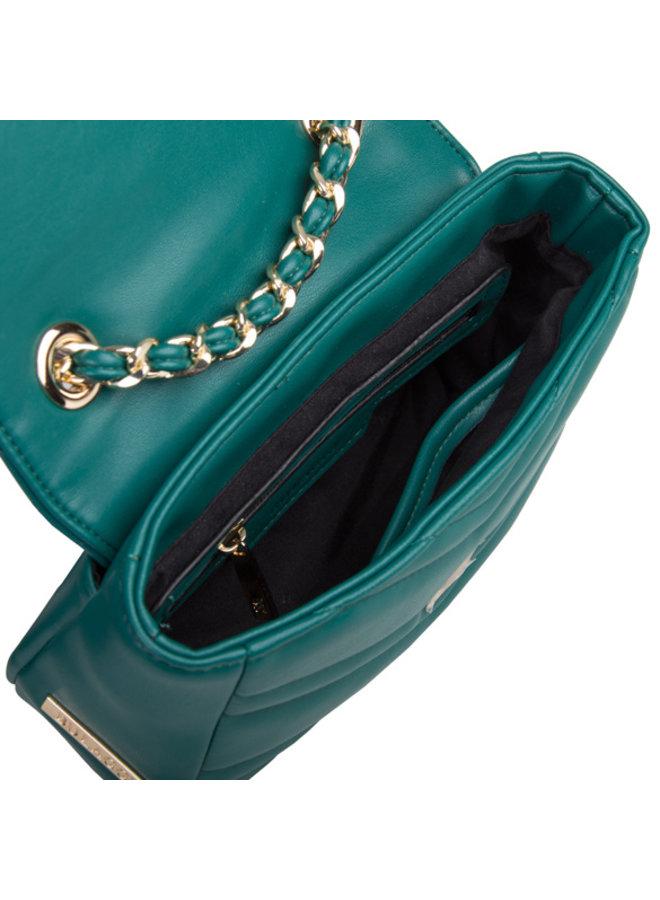 Bulaggi Dark Blue//Green Colour Calanthe Quilted Pattern Handbag Size 27x23x10 cm