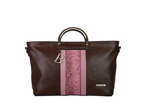 Handtas Fleur (bruin-roze)