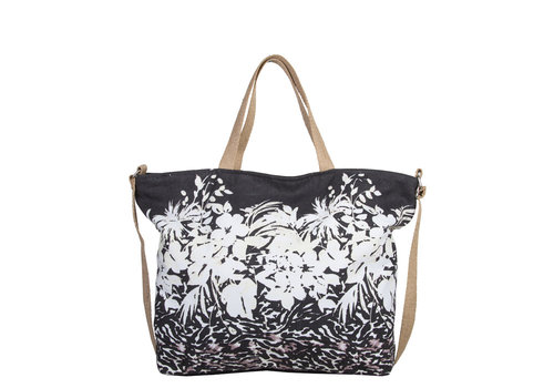 Beach bag Flower Zebra (black)