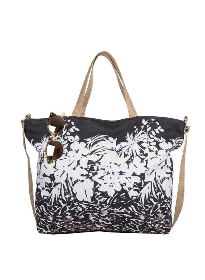 Beach bag Flower Zebra (black)