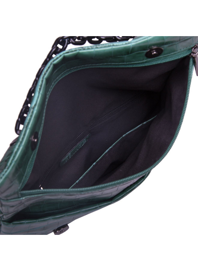 Clutch bag Croc (emerald green)