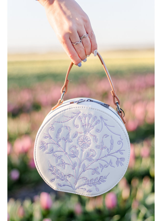 Crossbody tas Embroidery (wit)