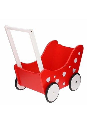Poppenwagen Rood met Hartjes