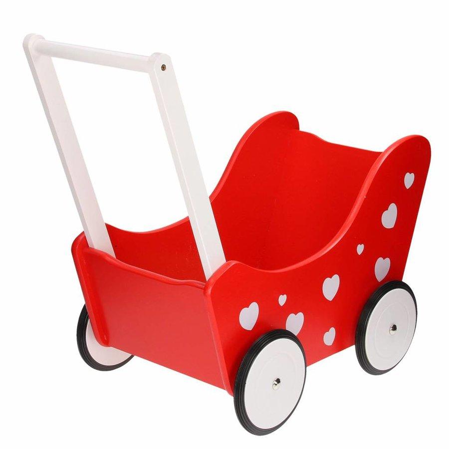 Poppenwagen Rood met Hartjes-1