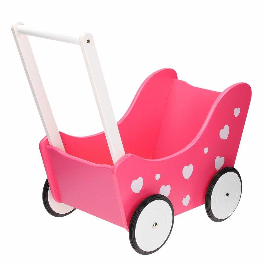 Poppenwagen Roze met Hartjes-1