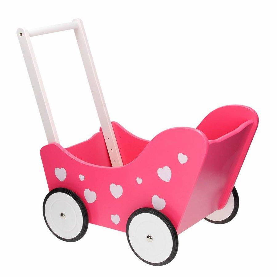 Poppenwagen Roze met Hartjes-2