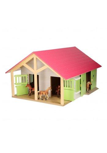 Paardenstal Roze met 2 Boxen en Berging