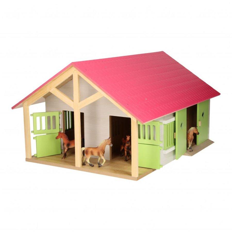 Paardenstal Roze met 2 Boxen en Berging-1