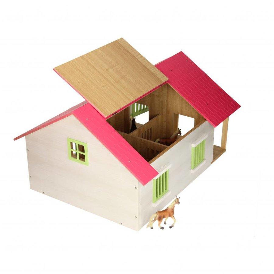 Paardenstal Roze met 2 Boxen en Berging-2