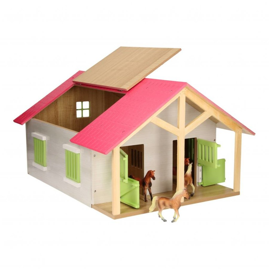 Paardenstal Roze met 2 Boxen en Berging-3