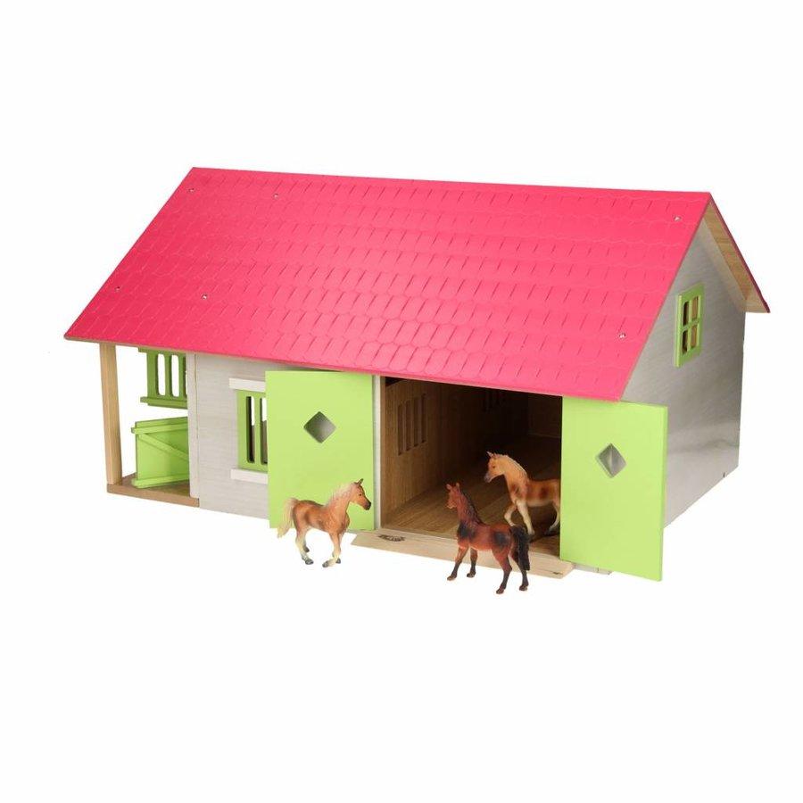 Paardenstal Roze met 2 Boxen en Berging-4