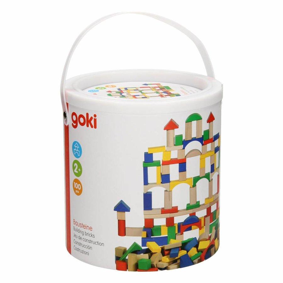 Houten Bouwblokken in Ton - Kleur, 100dlg.-1
