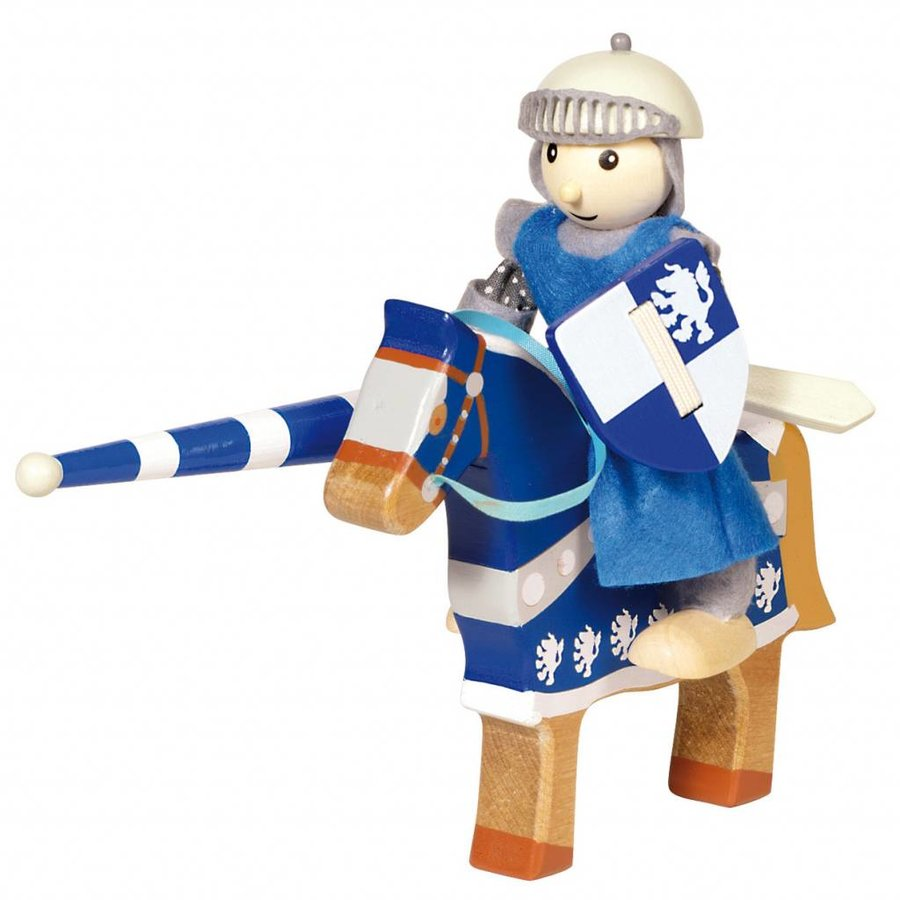 Houten Ridder met Paard - Blauw-1