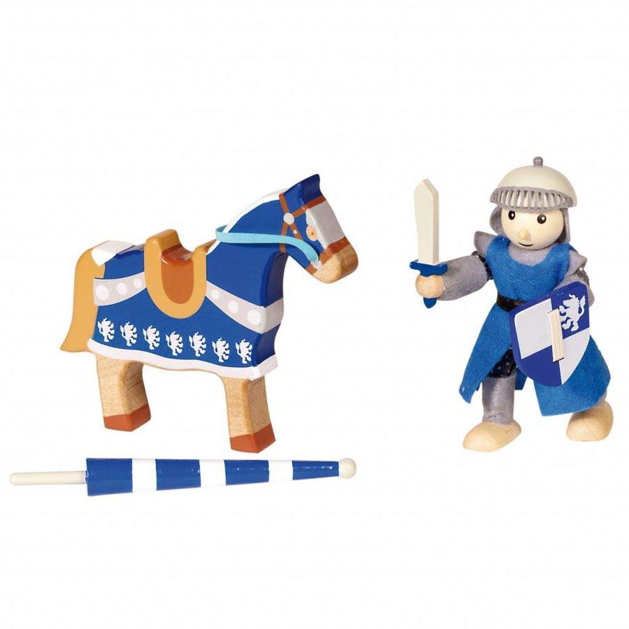 Houten Ridder met Paard - Blauw-2