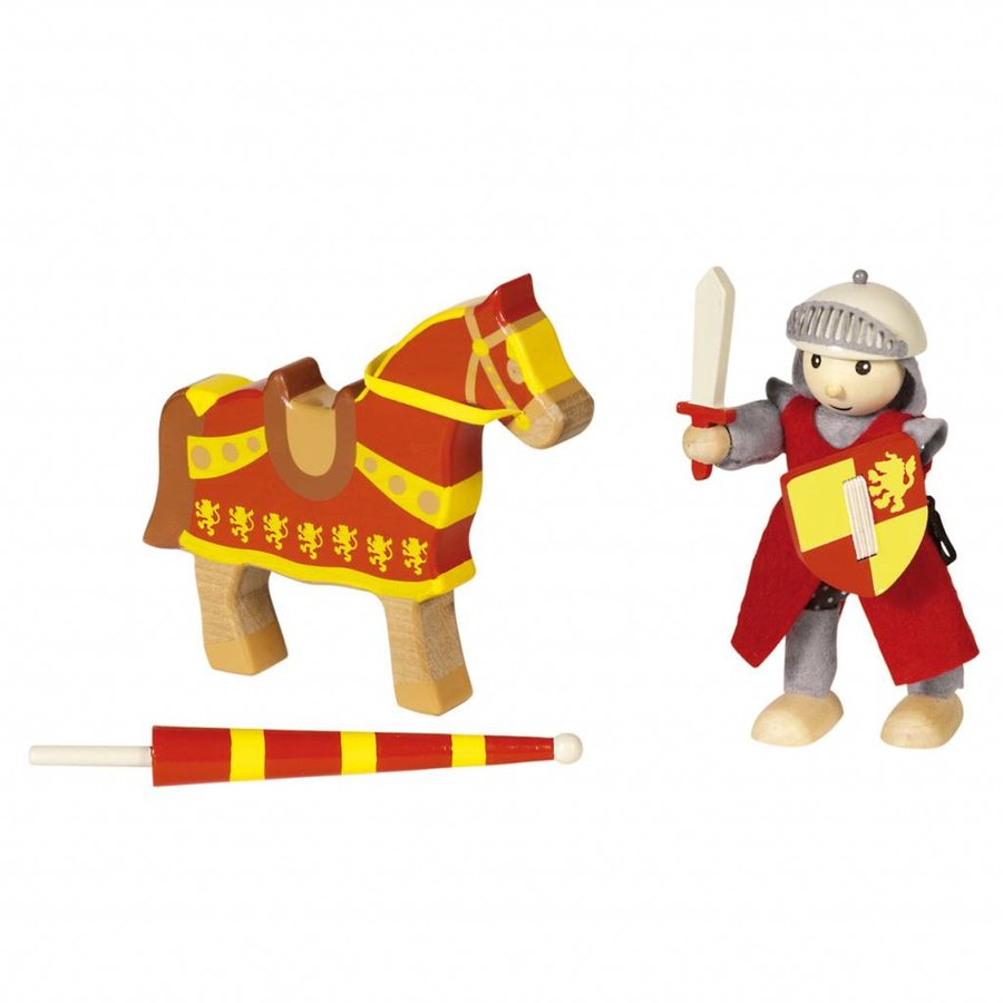 Houten Ridder met Paard - Rood-2