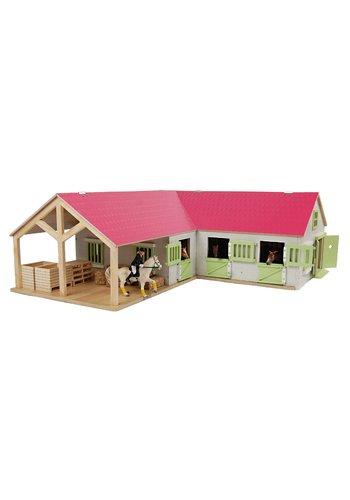 Kids Globe Paardenhoekstal met 3 Boxen en Berging Roze 1:24