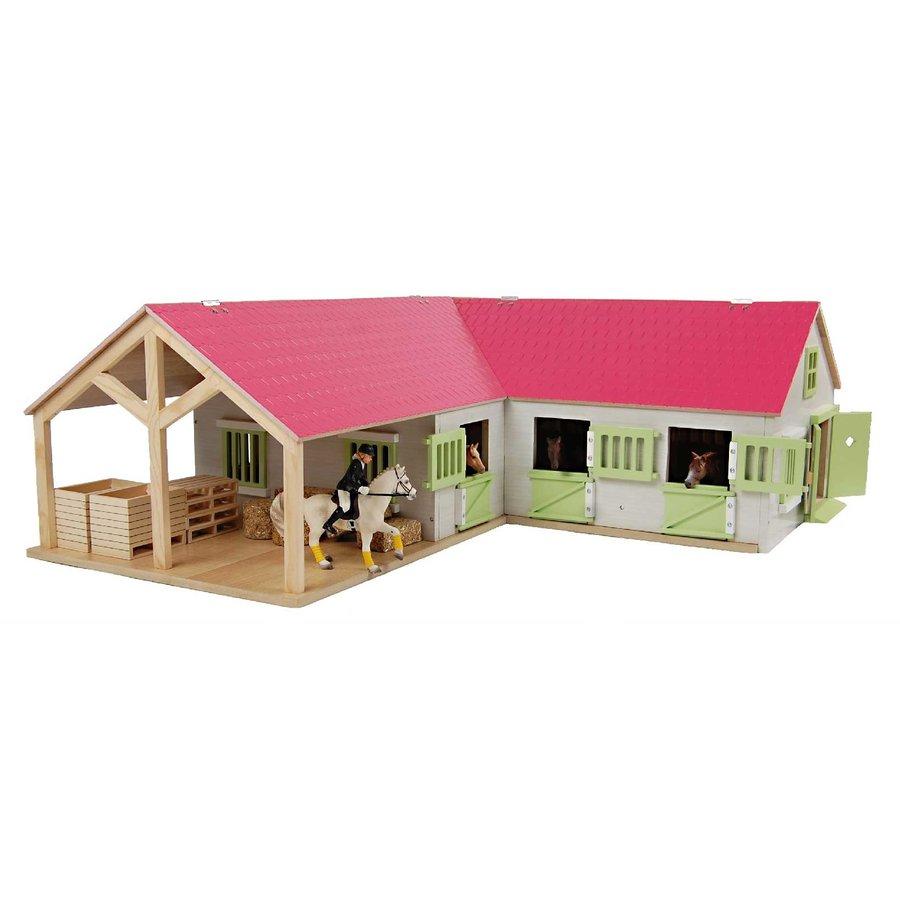 Kids Globe Paardenhoekstal met 3 Boxen en Berging Roze 1:24-1