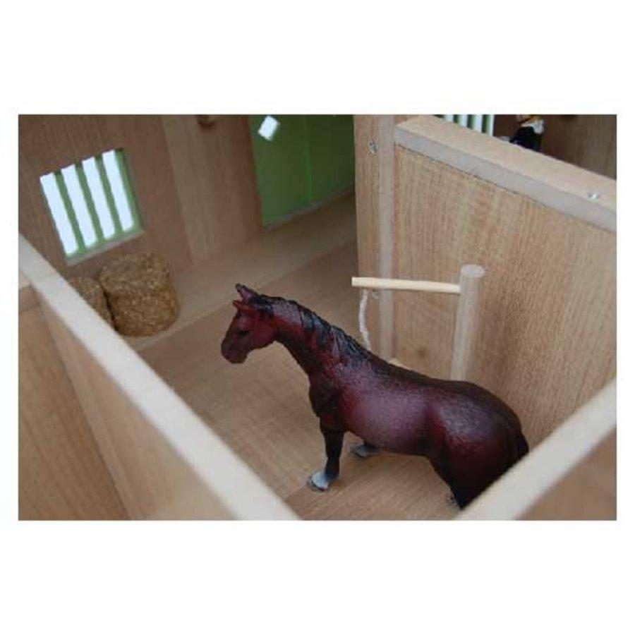 Kids Globe Paardenhoekstal met 3 Boxen en Berging Roze 1:24-2