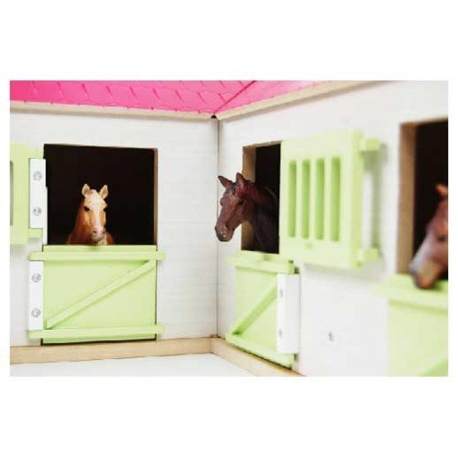 Kids Globe Paardenhoekstal met 3 Boxen en Berging Roze 1:24-3