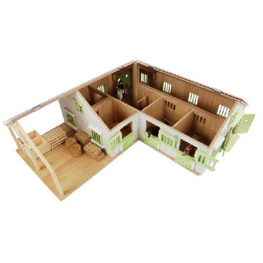 Kids Globe Paardenhoekstal met 3 Boxen en Berging Roze 1:24-4