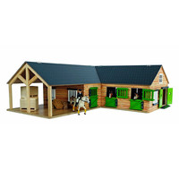thumb-Kids Globe Paardenhoekstal met 3 Boxen en Berging 1:24-1
