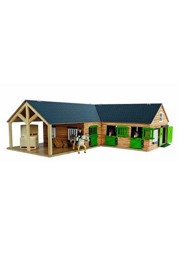 Kids Globe Paardenhoekstal met 3 Boxen en Berging 1:24
