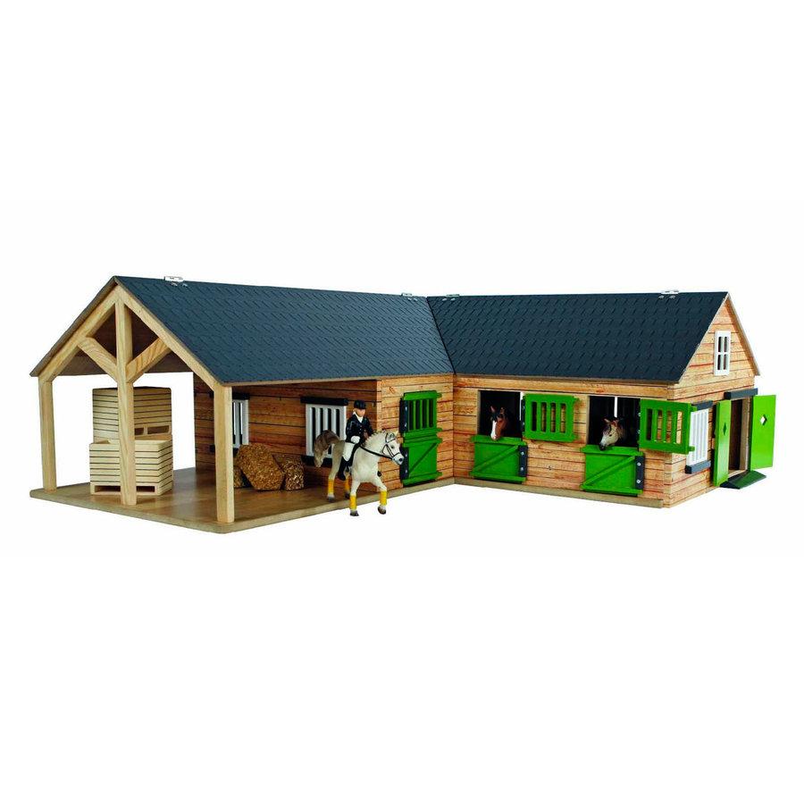 Kids Globe Paardenhoekstal met 3 Boxen en Berging 1:24-1