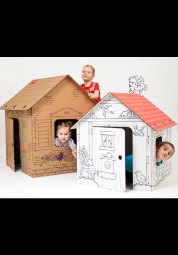 Durakids Kartonnen Speelhuisje Bruin - Duurzaam Karton