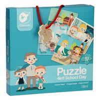 thumb-Classic World Houten Puzzel Op School, 4in1-1