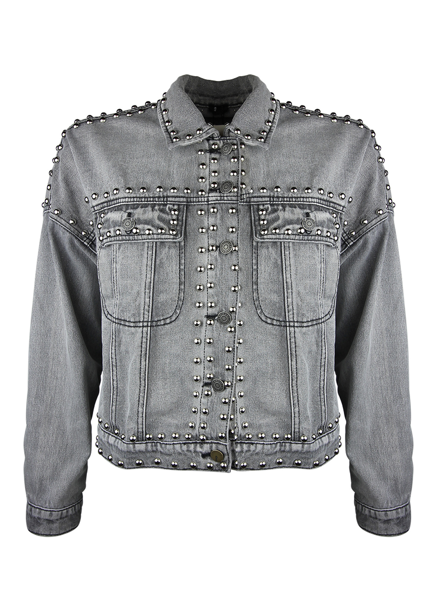 be0066bccd3b Denim Jacket Studs - Grey - Godly Store