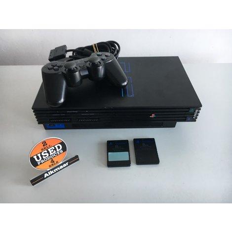Sony Playstation 2 zwart + 2 controllers   Nette staat