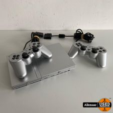 Sony Sony Playstation 2 Slim Zilver + 2 controllers | Nette staat!