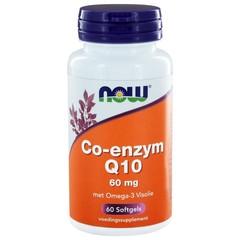 NOW Co-enzym Q10 60 mg met omega-3 visolie (60 softgels)