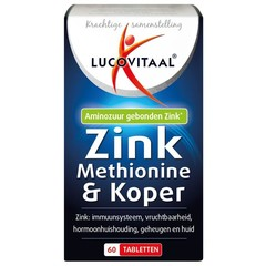 Lucovitaal Zink methionine & koper (60 tabletten)