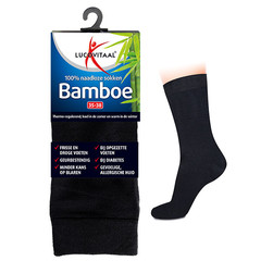 Lucovitaal Bamboe sok lang zwart 47-50 (1 paar)