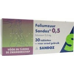 Sandoz Foliumzuur 0.5 mg (30 tabletten)