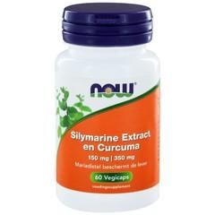 NOW Silymarine extract 150 mg en curcuma 350 mg (60 vcaps)
