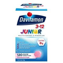Davitamon Junior 3+ framboos (120 kauwtabletten)