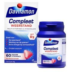 Davitamon Compleet weerstand kauwvitamines aardbei (60 kauwtabletten)