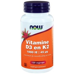 NOW Vitamine D3 1000IE & Vitamine K2 (120 vcaps)