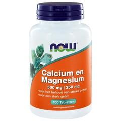 NOW Calcium magnesium 500/250 mg (100 tabletten)