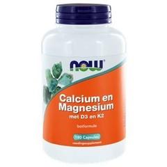 NOW Calcium en Magnesium met D3 en K2 (180 capsules)