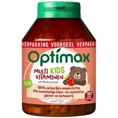 Optimax Kinder multi aardbei (180 kauwtabletten)