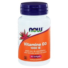 NOW Vitamine D3 1000IE (90 softgels)
