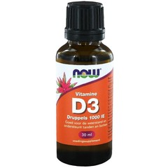 NOW Vitamine D3 druppels 1000IE (30 ml)