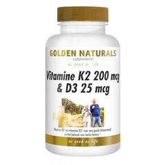 Golden Naturals Vitamine K2 200 mcg D3 25 mcg (60 capsules)